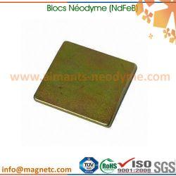 aimant néodyme carré revêtu couleur zinc